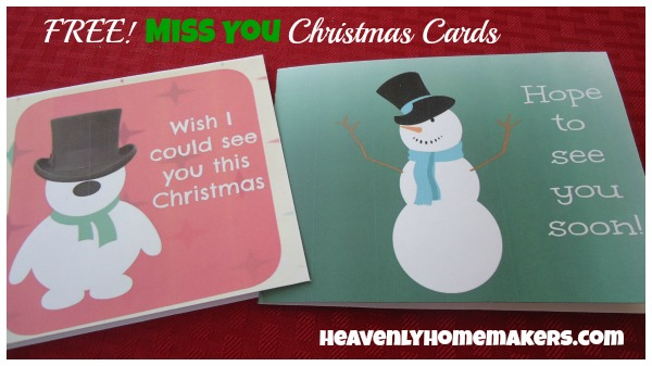 Free Printable Miss You Christmas Cards