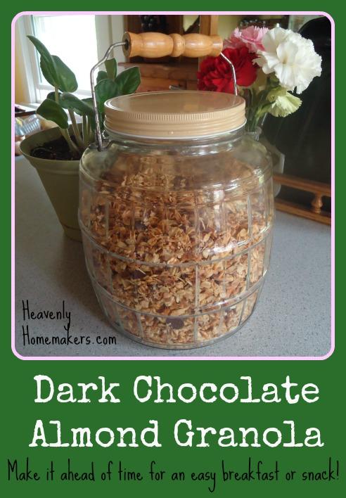 Dark Chocolate Almond Granola - A Great Make-Ahead Meal