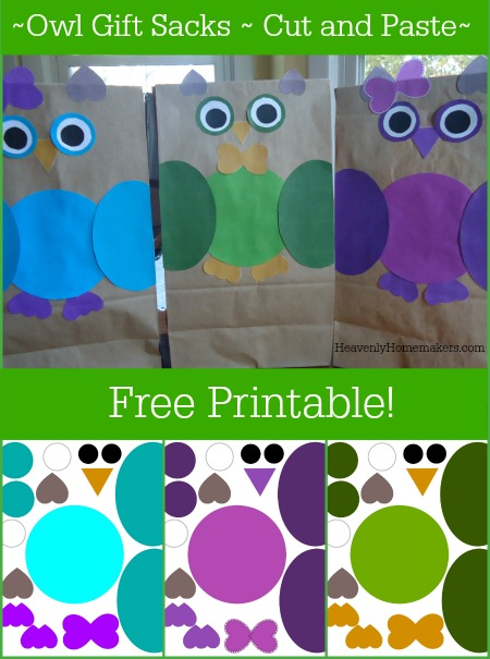 Owl Gift Sacks Free Printable