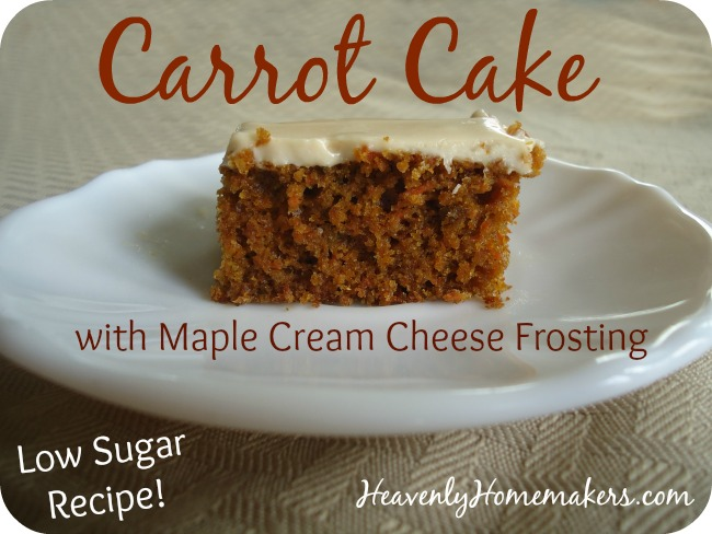 Low Sugar Carrot Cake with Maple Cream Cheese Frosting