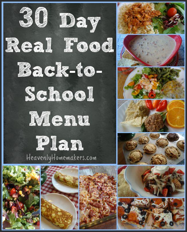 30 Day Real Food Back-to-School Menu Plan