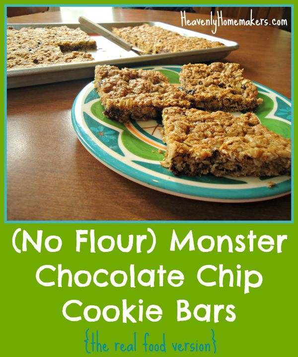 No Flour Monster Chocolate Chip Cookies (the real food version)
