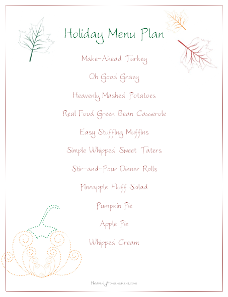 holiday menu plan