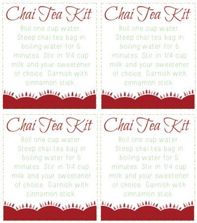 Chai Tea Kit Gift Tags