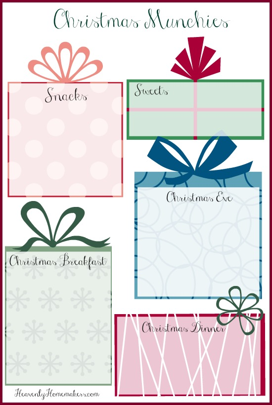 free printable christmas menu planner