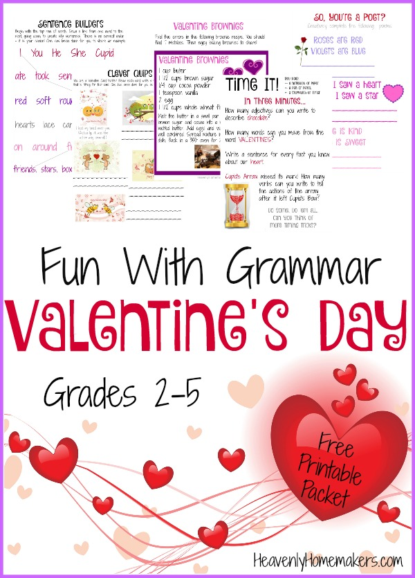Fun With Grammar - Valentine's Day Free Printable Packet