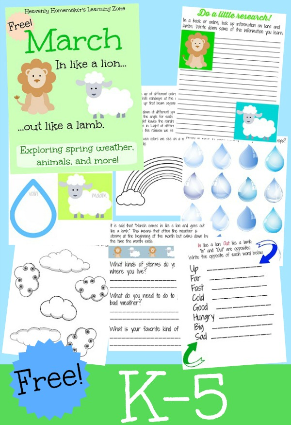Free K-5 March Learning Activity Packet