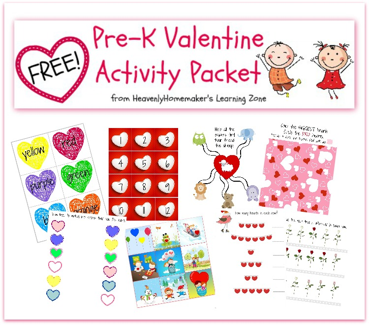 Free Pre-K Valentine Activity Packet - Sample Pages