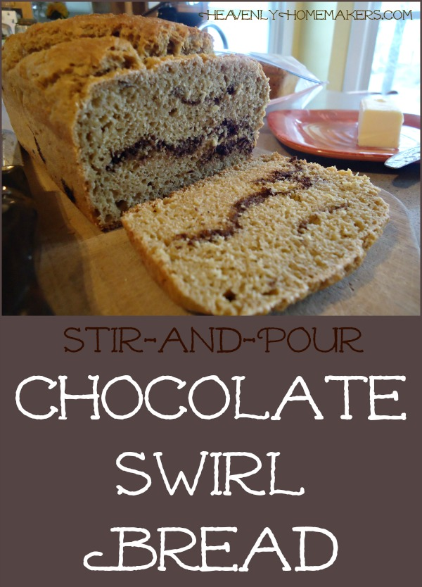 Stir and Pour Chocolate Swirl Bread