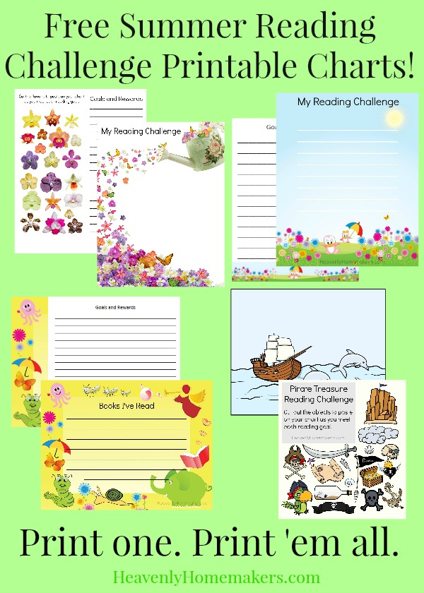 Free Summer Reading Challenge Printable Charts