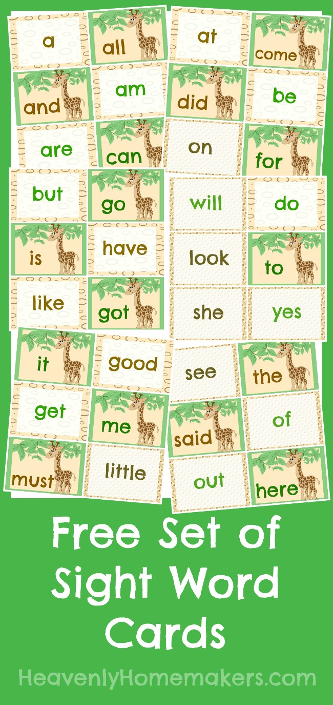 Free Sight Word Cards