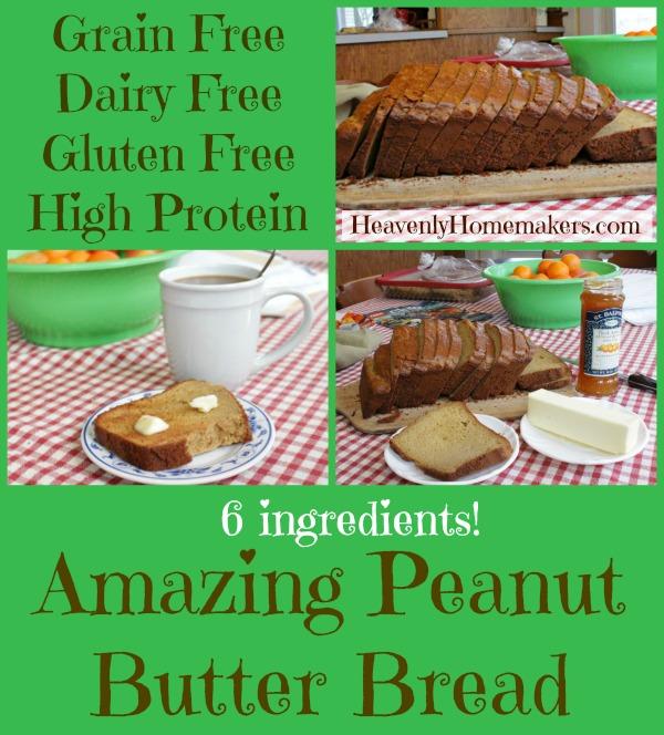 Grain Free, High Protein Peanut Butter Bread