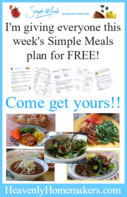 I'm giving everyone this week's Simple Meals plan for FREE!