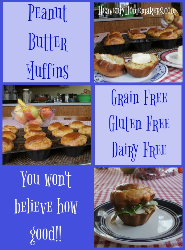Peanut Butter Muffins - naturally gluten, grain, and dairy free