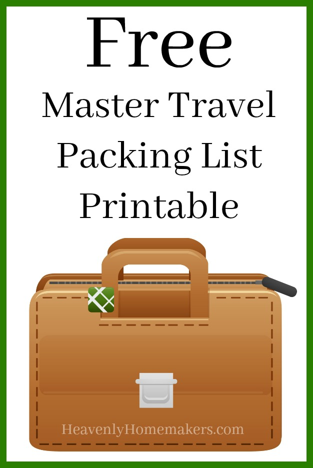Free Master Travel Packing List Printable