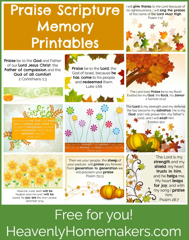 Praise Scripture Memory Printables - free for you!