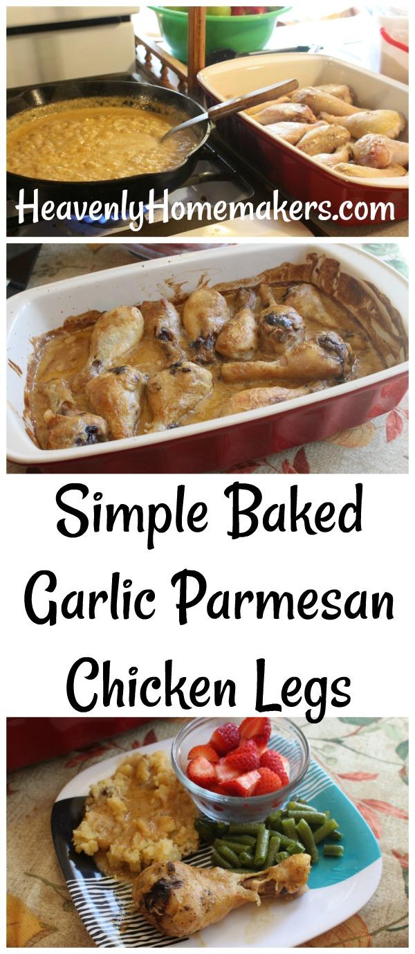 Simple Baked Garlic Parmesan Chicken Legs