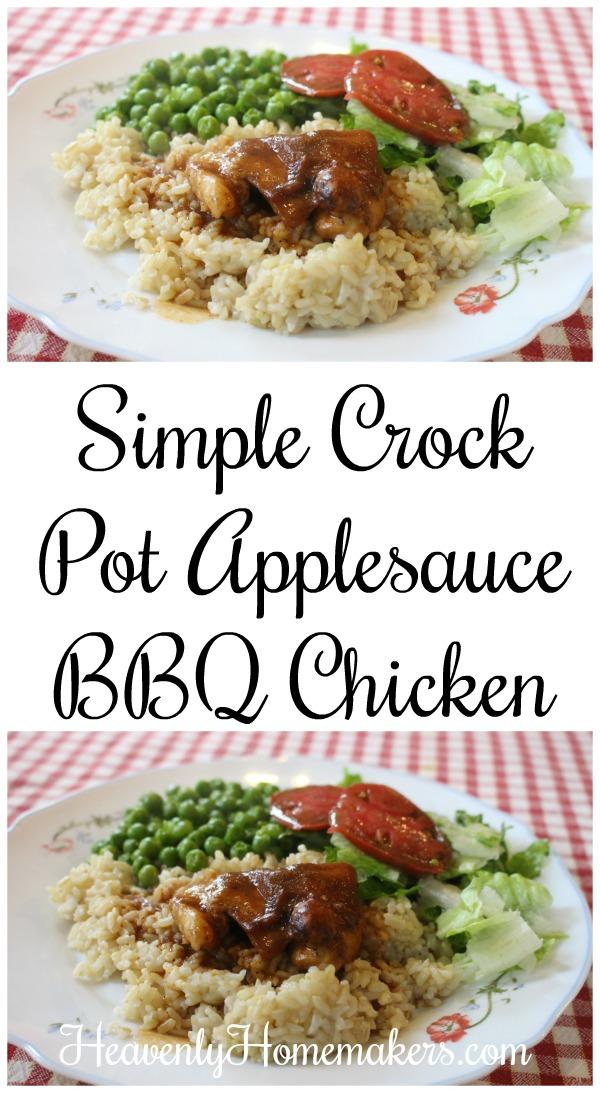 Simple Crock Pot Applesauce BBQ Chicken