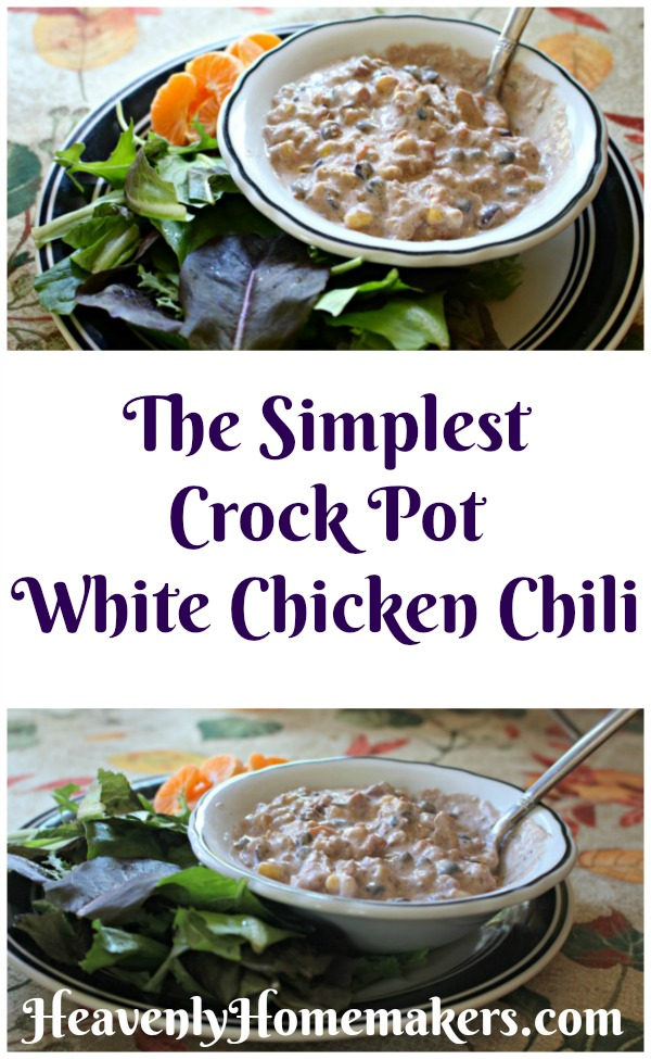 The Simplest Crock Pot White Chicken Chili