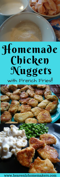 Homemade Chicken Nuggets and French Fries, so much healthier than the fast food version!! #chickennuggets #frenchfries #recipe