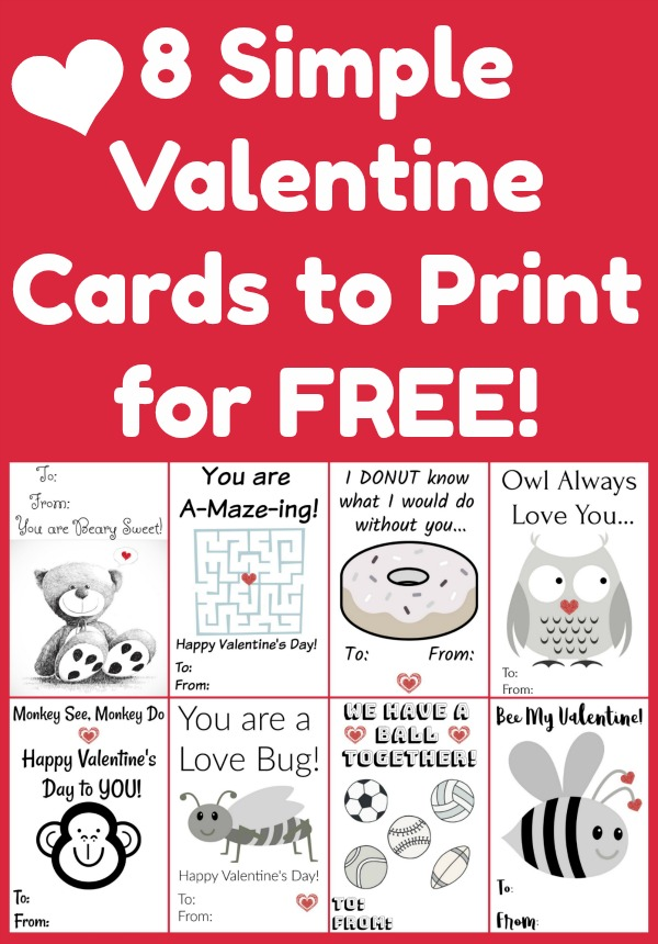 8 FREE Simple PrintandColor Valentine Cards Heavenly