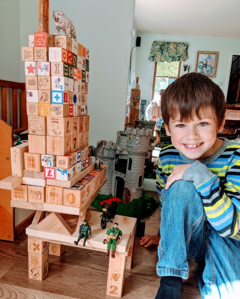 boy with block tower
