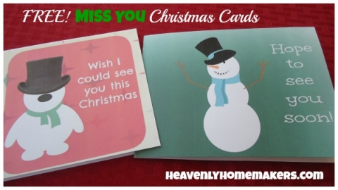 photo regarding Free Printable Miss You Cards referred to as Absolutely free Printables: Xmas Playing cards Heavenly Homemakers