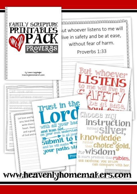 graphic regarding Printable Scriptures referred to as Household Scripture Printables Pack - Proverbs Heavenly